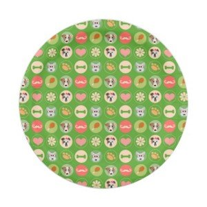 dog love green paper plate