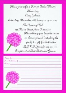 Pink Floral Recipe Card Bridal Shower Invitations