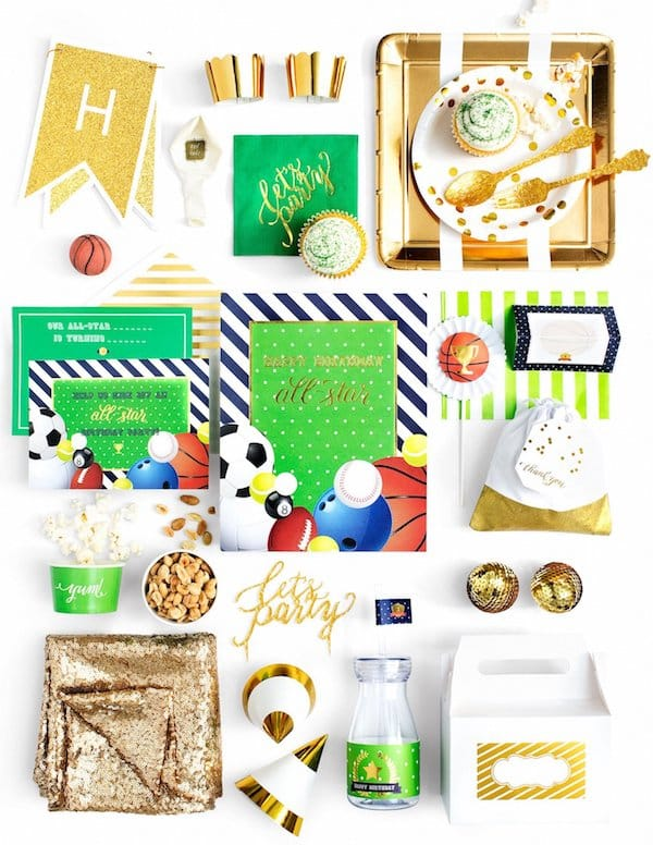 Basketball Soccer Baseball Football All Star Sports Birthday Party and Baby Shower Supplies in a Box