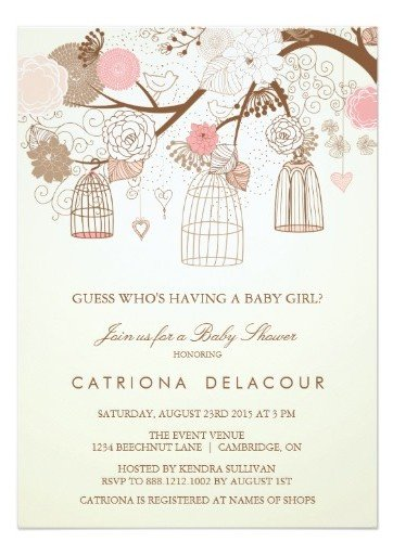 Vintage Birdcage Baby Shower Invitations