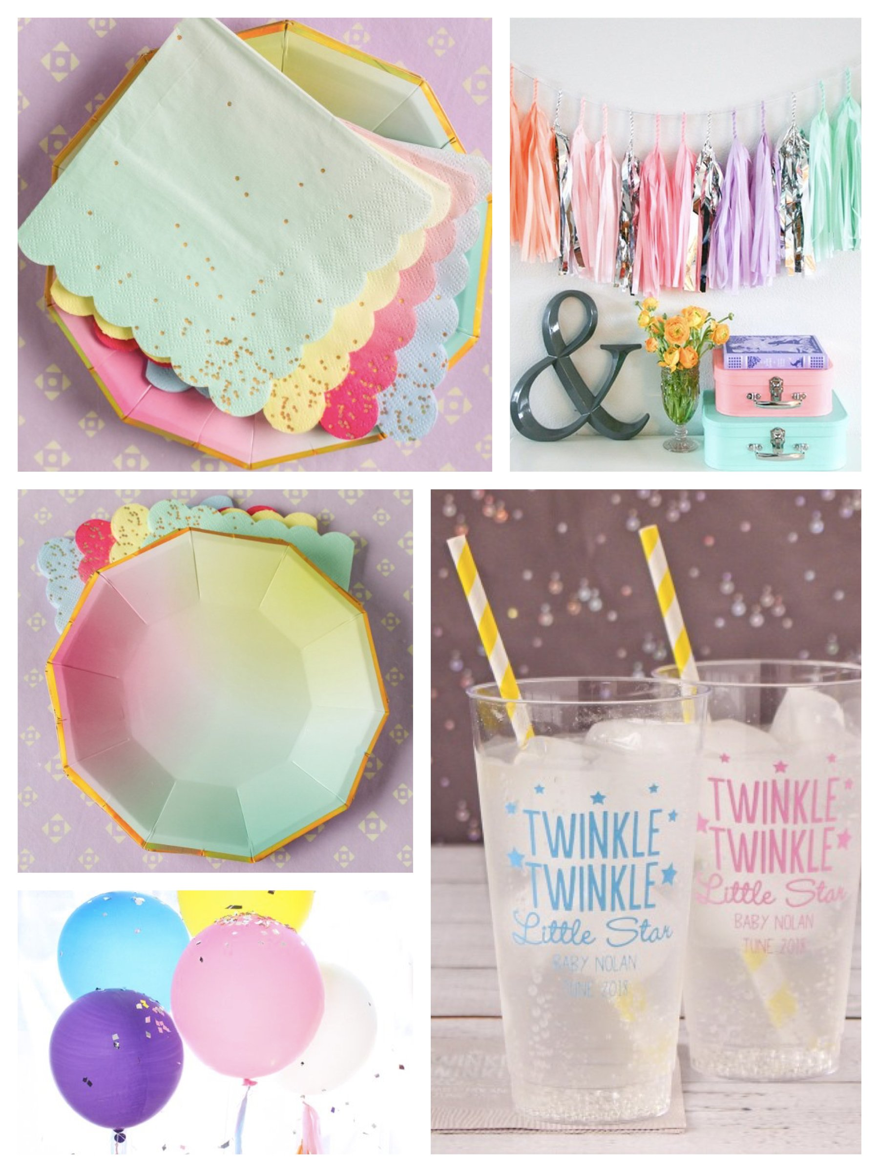 Pastel Twinkle Twinkle Star Baby Shower Decor