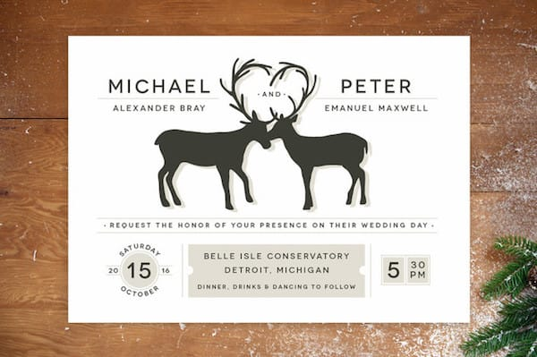 Antler Fancy Same Sex Wedding Invitations