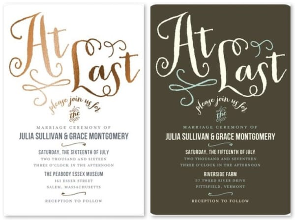 Gay Marriage Wedding Invitations
