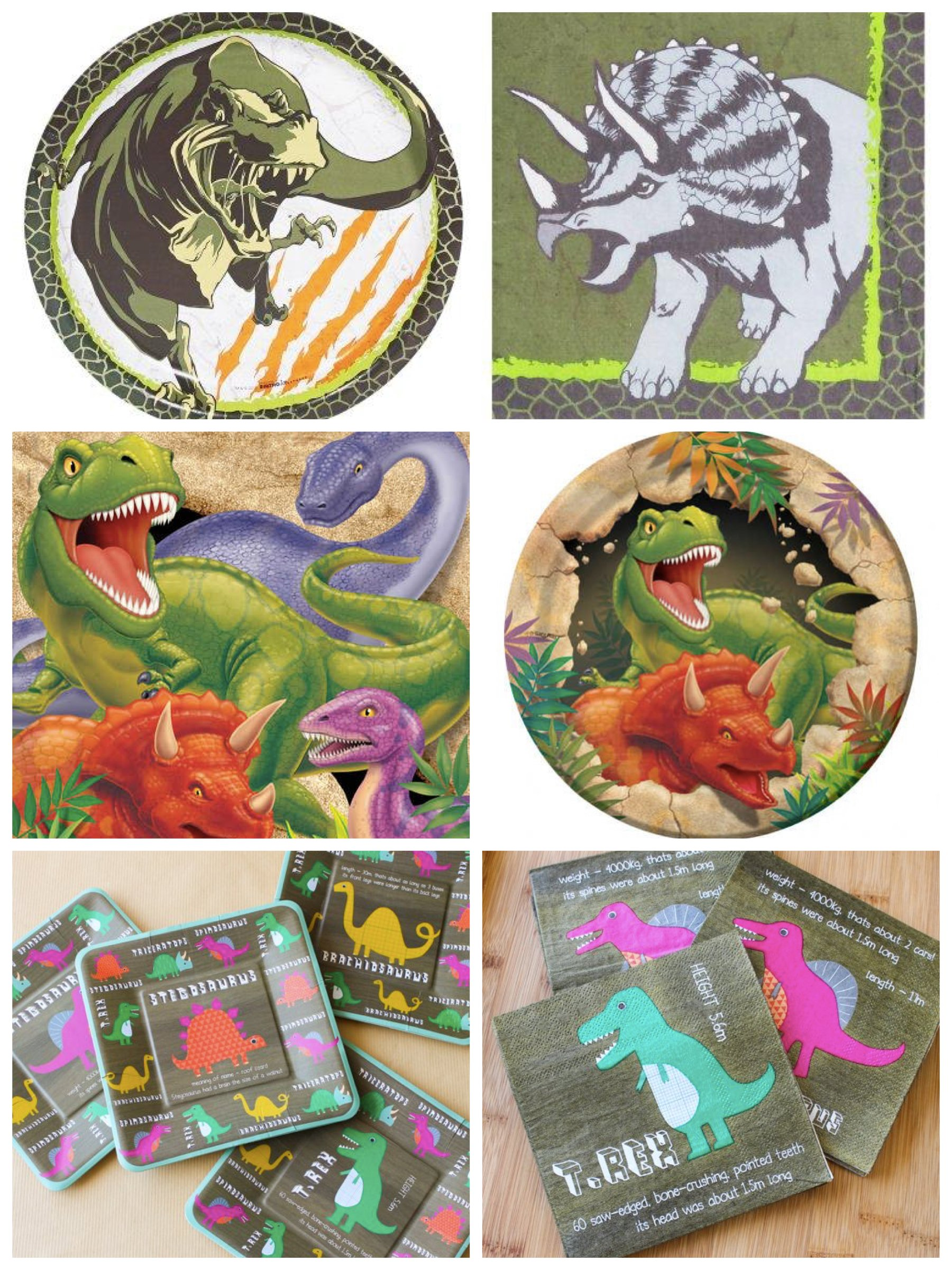 Dinosaur Plates and Napkins