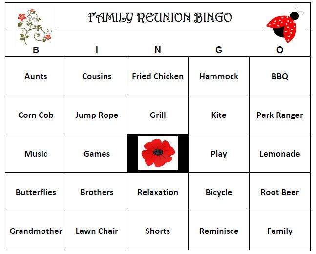 Family Reunion Bingo, printable family reunion games