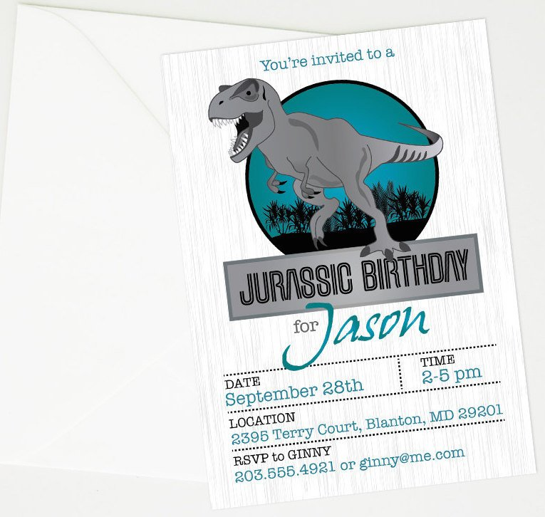 Jurassic Park Dinosaur Printable Birthday Party Invitation