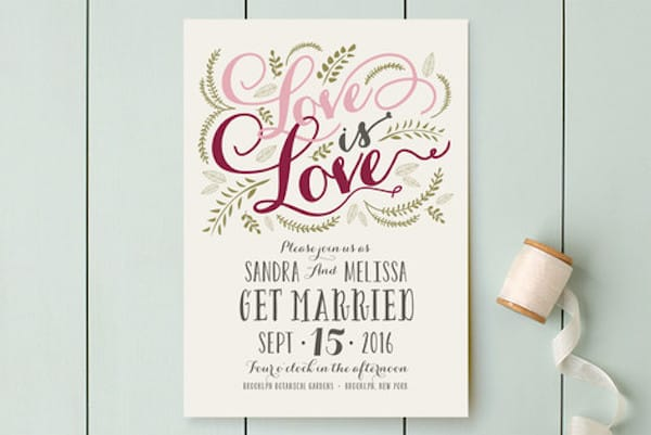 Love is Love Printable Digital Wedding Invitations