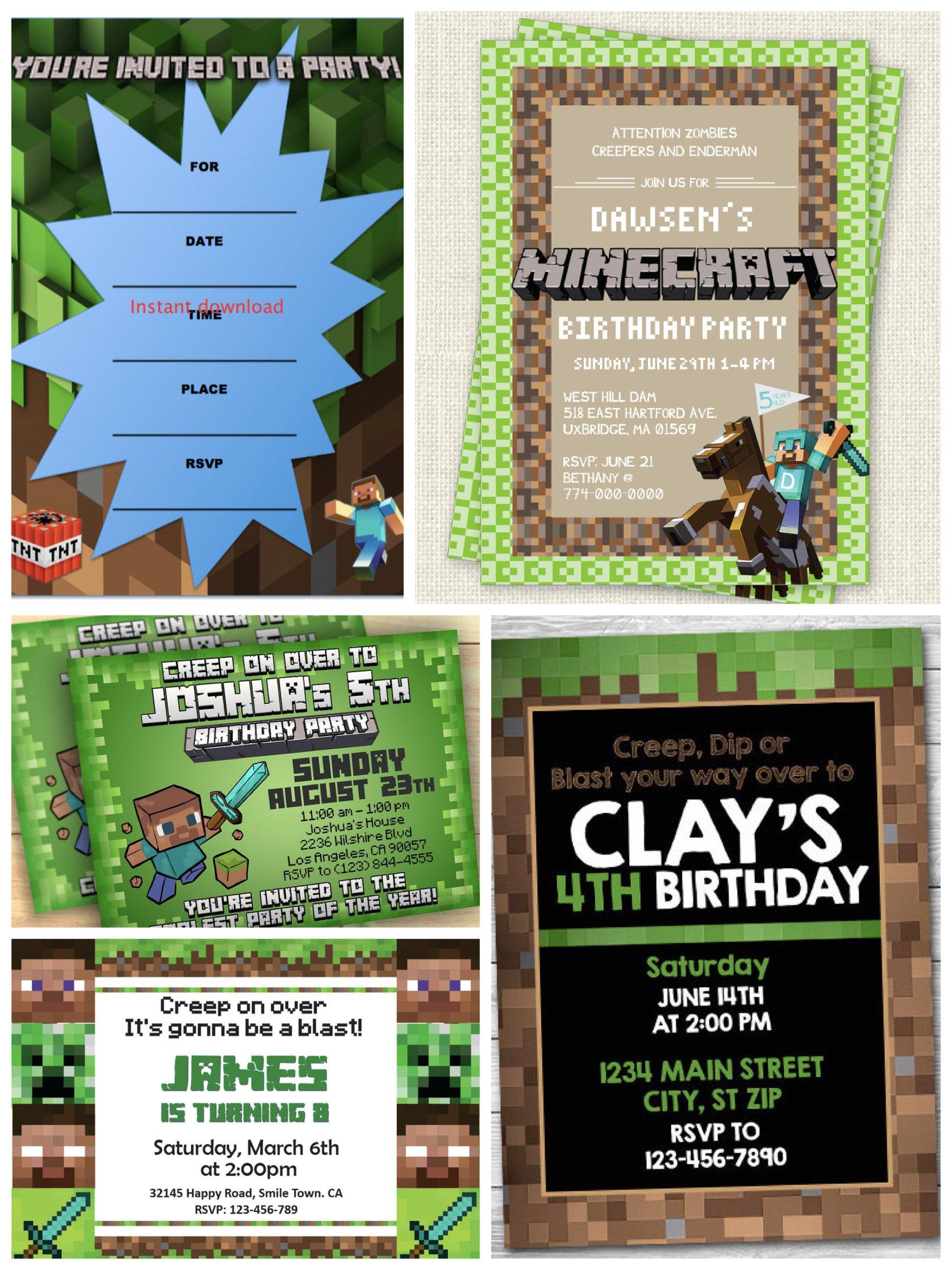 Minecraft & Block Miner Birthday Party Invitations