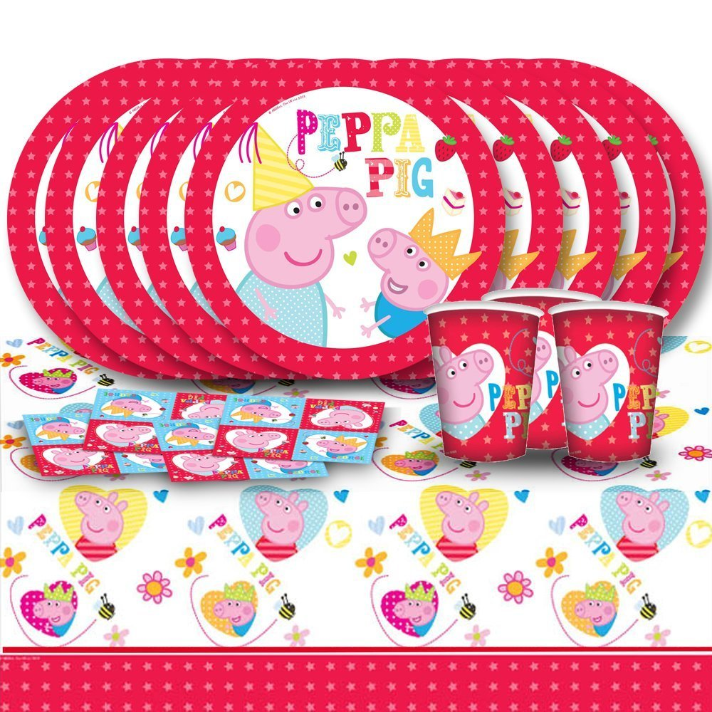 Peppa Pig Cartoon Children's Birthday Complete Party Kit