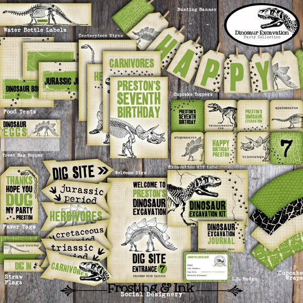 Printable Dinosaur Excavation Party Collection