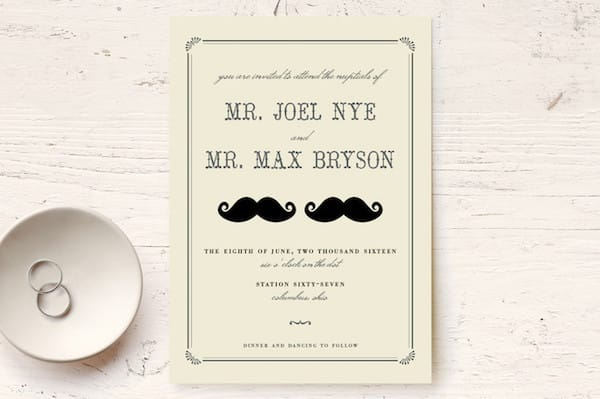 Stache +s Stache Customizable Print-it-yourself Wedding Invitations
