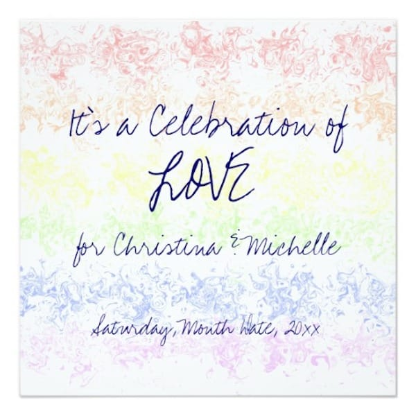 Celebration of Love Rainbow Watercolor Same Sex Wedding Invitation