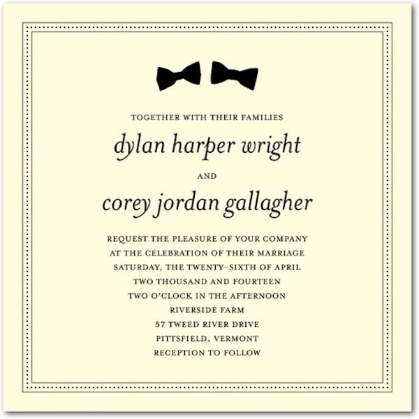 Dapper Pair Same Sex Wedding Invitations