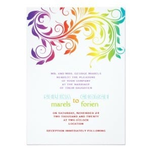 Rainbow Colors Scroll Leaf Wedding Invitation