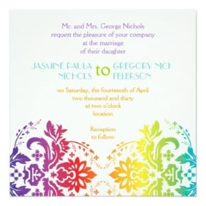 Rainbow Colors Damask Same Sex Wedding invitations
