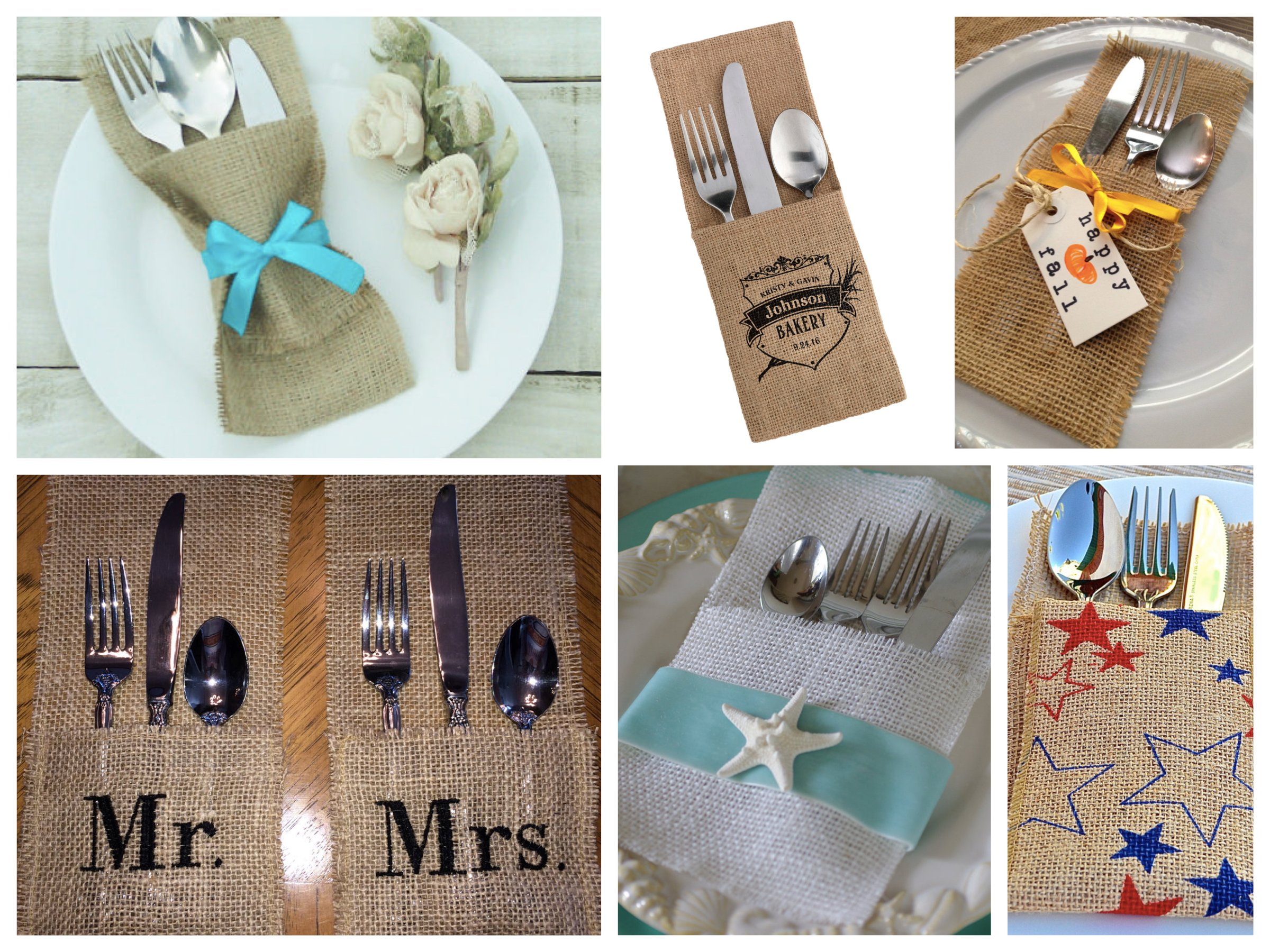 Burlap Silverware Holders Pockets