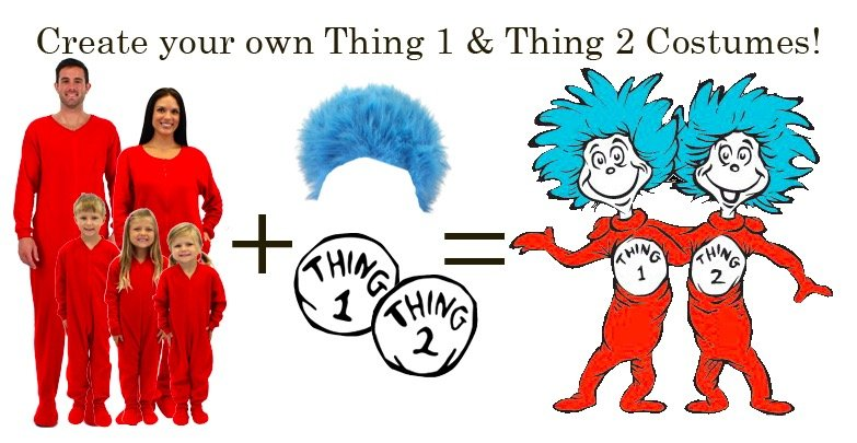 Make your own Dr. Seuss Cat in the Hat Thing 1 and Thing 2 Matching Family Costumes