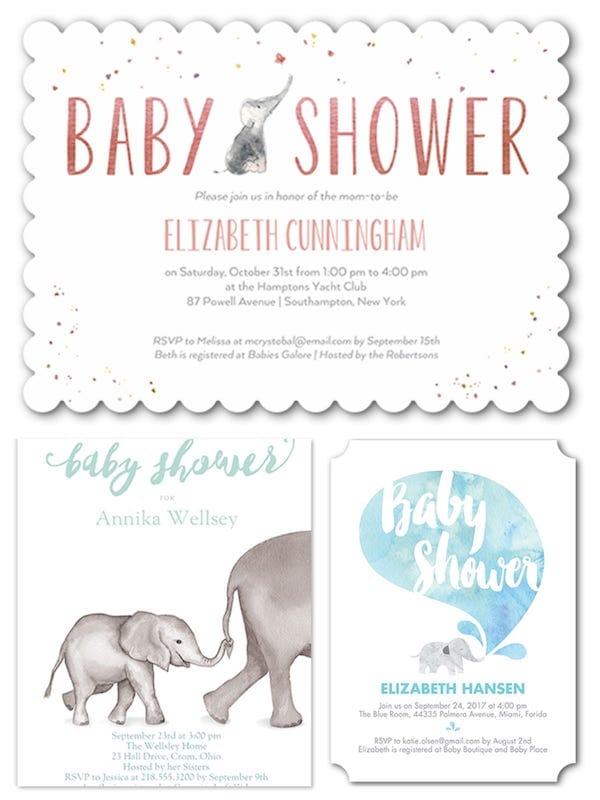 Elephant Baby Shower Invites TP