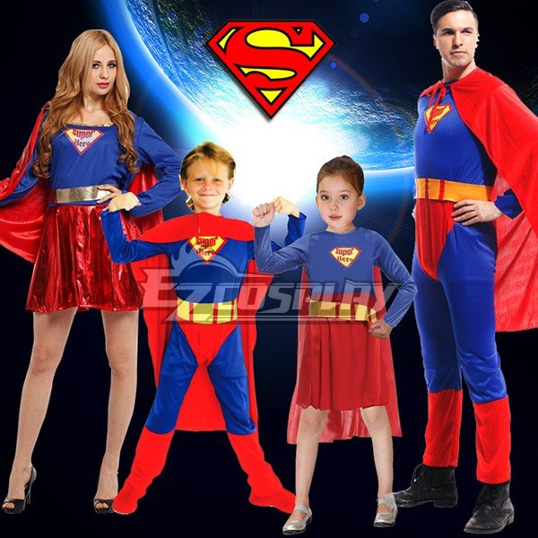 Halloween Super Man Super Girl Super Woman Super Boy Cosplay Costume