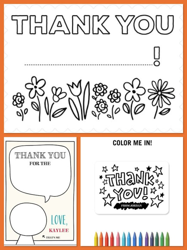 Color-In Kids Thank You Notes
