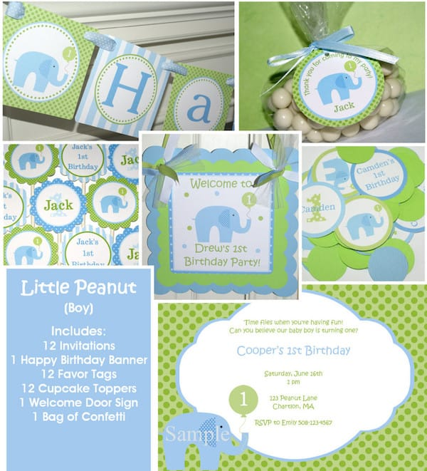 Little Peanut Blue Elephant Birthday Party Package