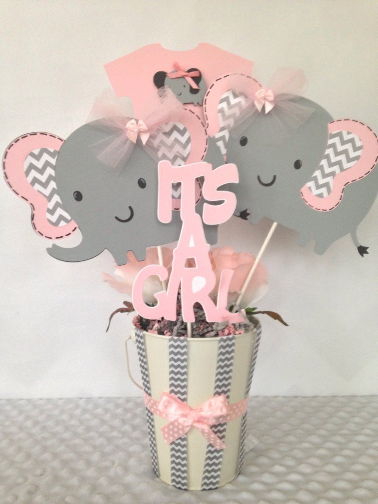 Pink and Gray Elephant Baby Shower Centerpiece