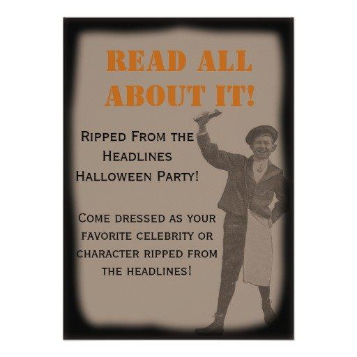 Ripped From the Headlines Halloween Invitation