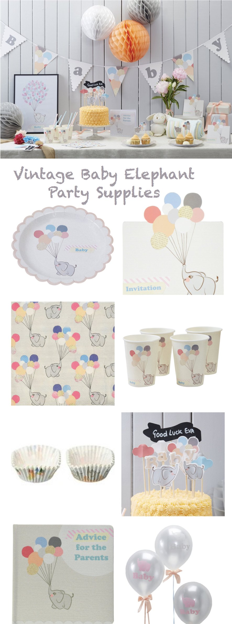 Vintage Baby Elephant Party Supplies
