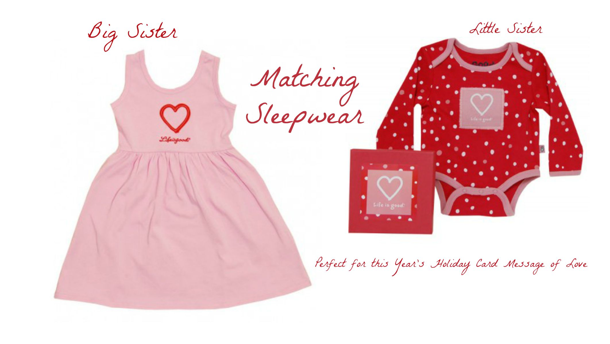 Holiday Photo Card Messages of Love, big sister baby sister matching sleepwear