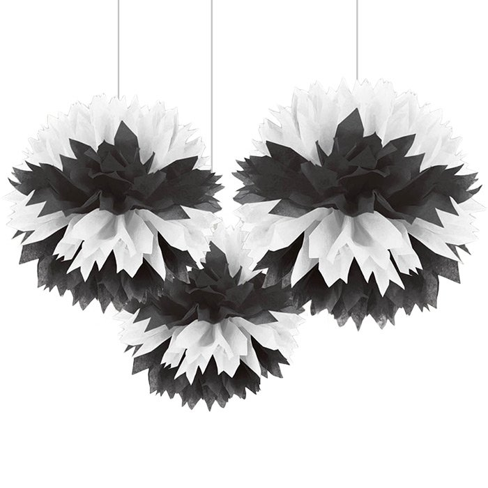 Black and White pom pom decorations