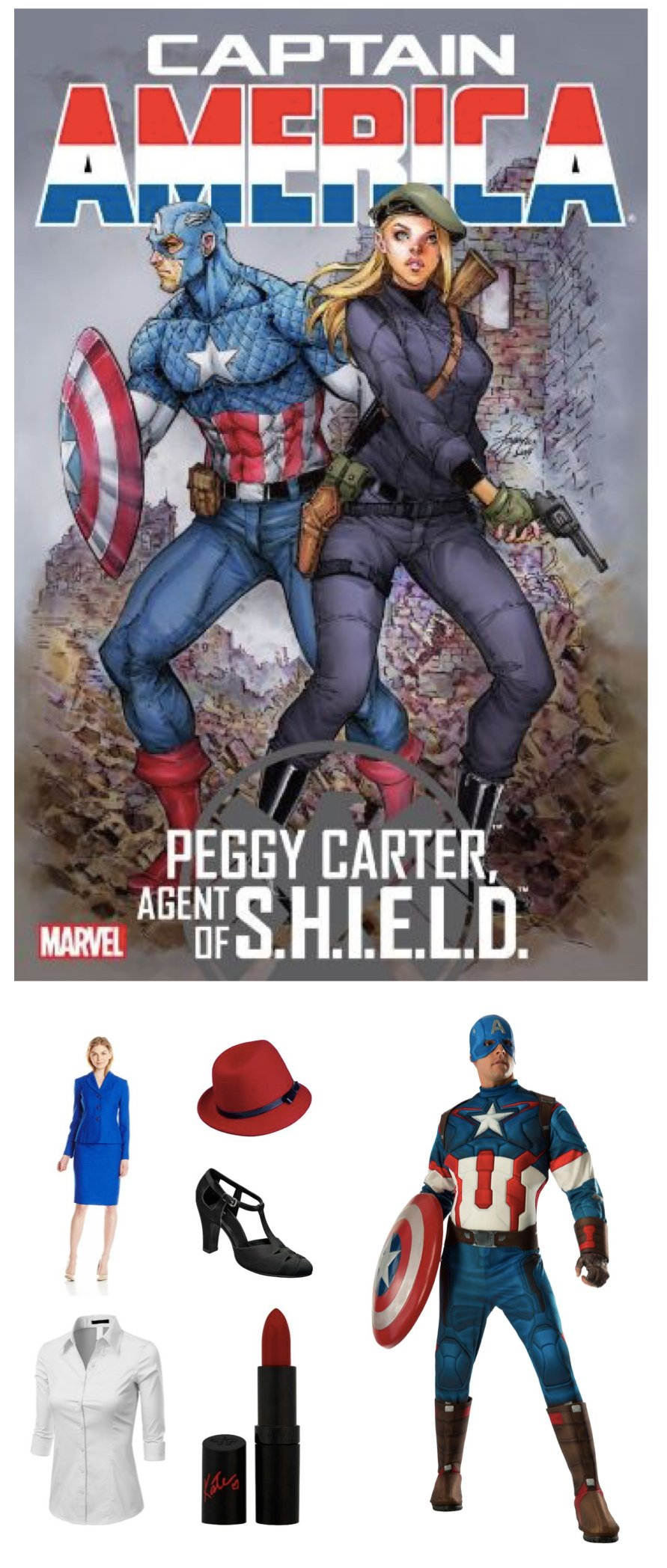 Captain America & Agent Peggy_Carter Couples Costumes