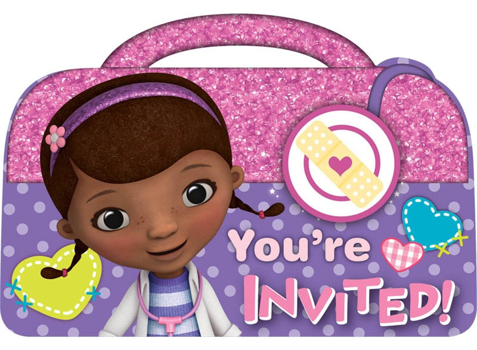 photograph regarding Doc Mcstuffins Printable Invitations named Document McStuffins Birthday Social gathering Building, Tips Materials