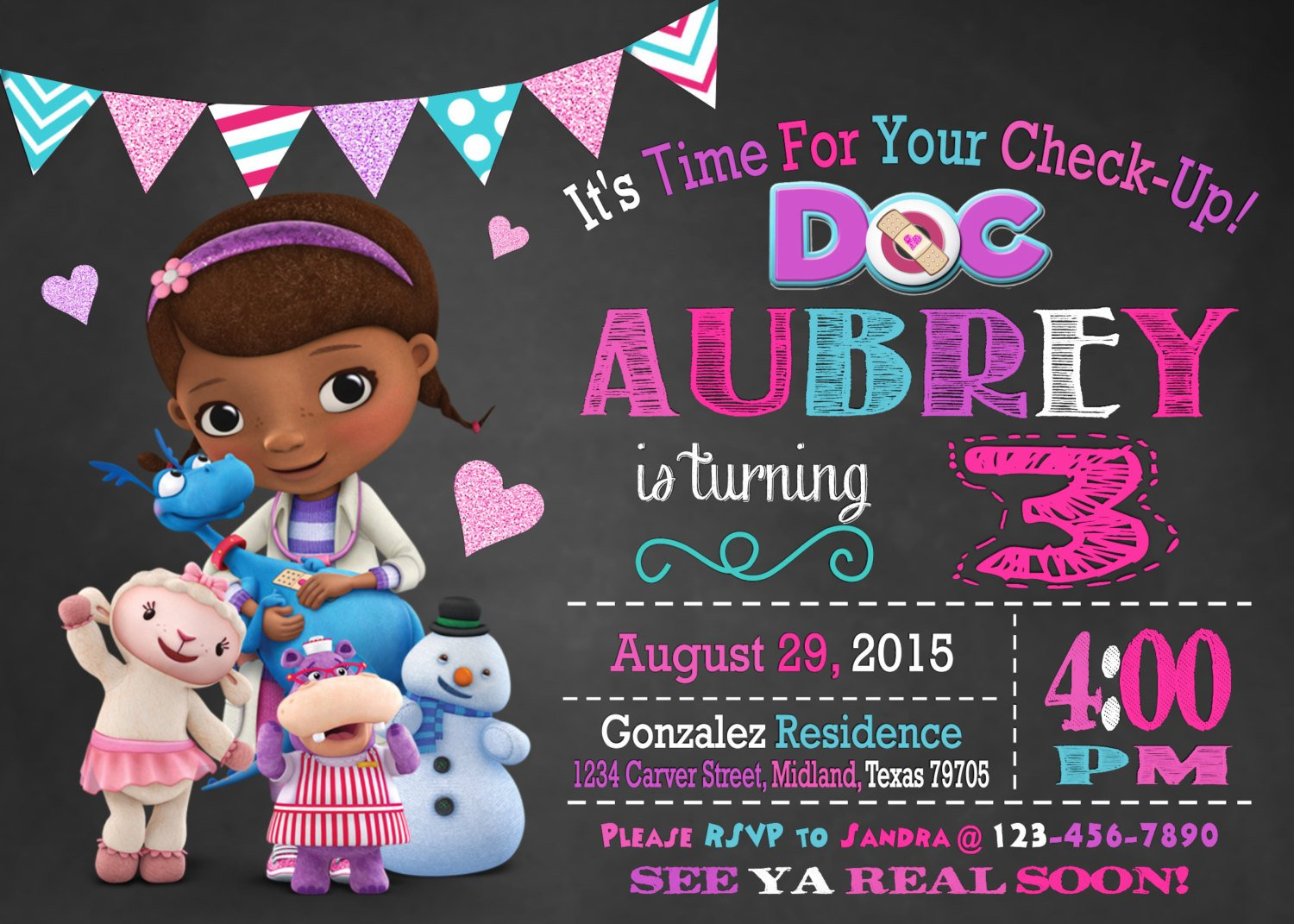 graphic regarding Doc Mcstuffins Printable Invitations identify Document McStuffins Birthday Social gathering Building, Designs Products