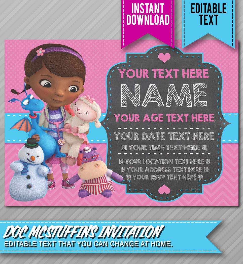 graphic regarding Doc Mcstuffins Printable Invitations known as Document McStuffins Birthday Celebration Creating, Tips Materials