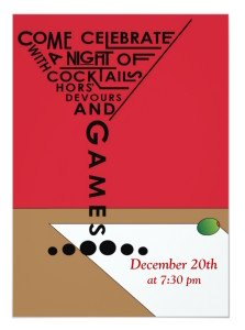 Games and cocktails invitation