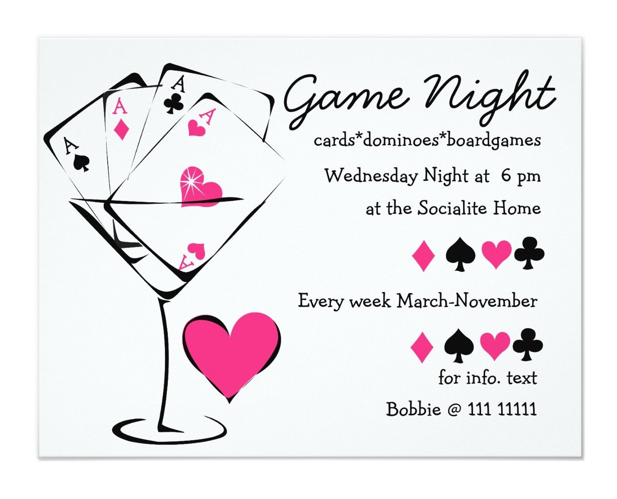 Card Game Party Planning Ideas Supplies Deal Me In - Party invitation template: casino theme party invitations template free