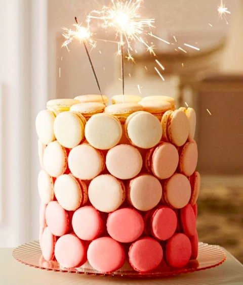 Ombre Macaron Cake with sparklers