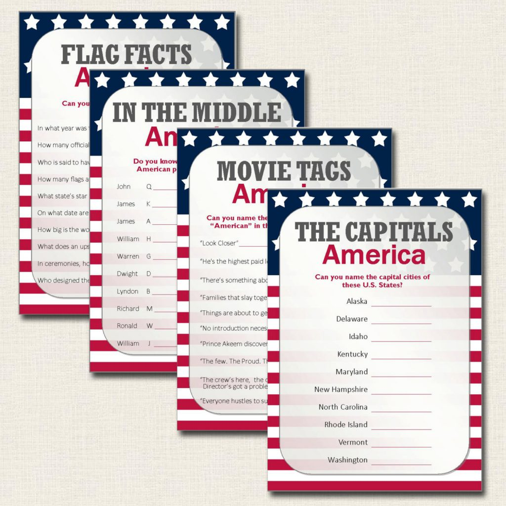 Printable Patriotic American Quiz Cards