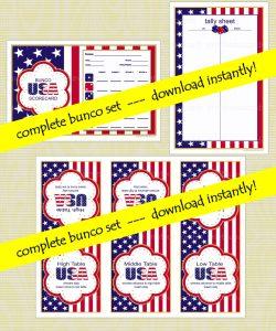 Printable Patriotic Bunco Games