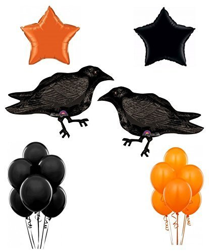 Scary Black Crow Halloween Party Balloon Decoration Kit