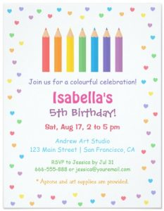 Rainbow Hearts Coloring Invitations