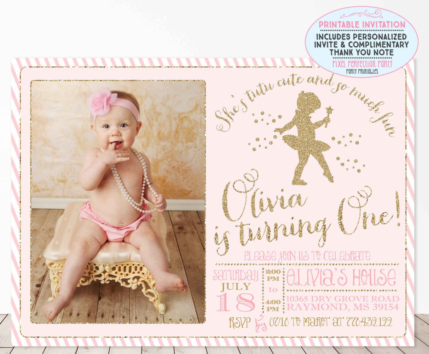 Ballerina Birthday 1st Birthday Tutu Invite