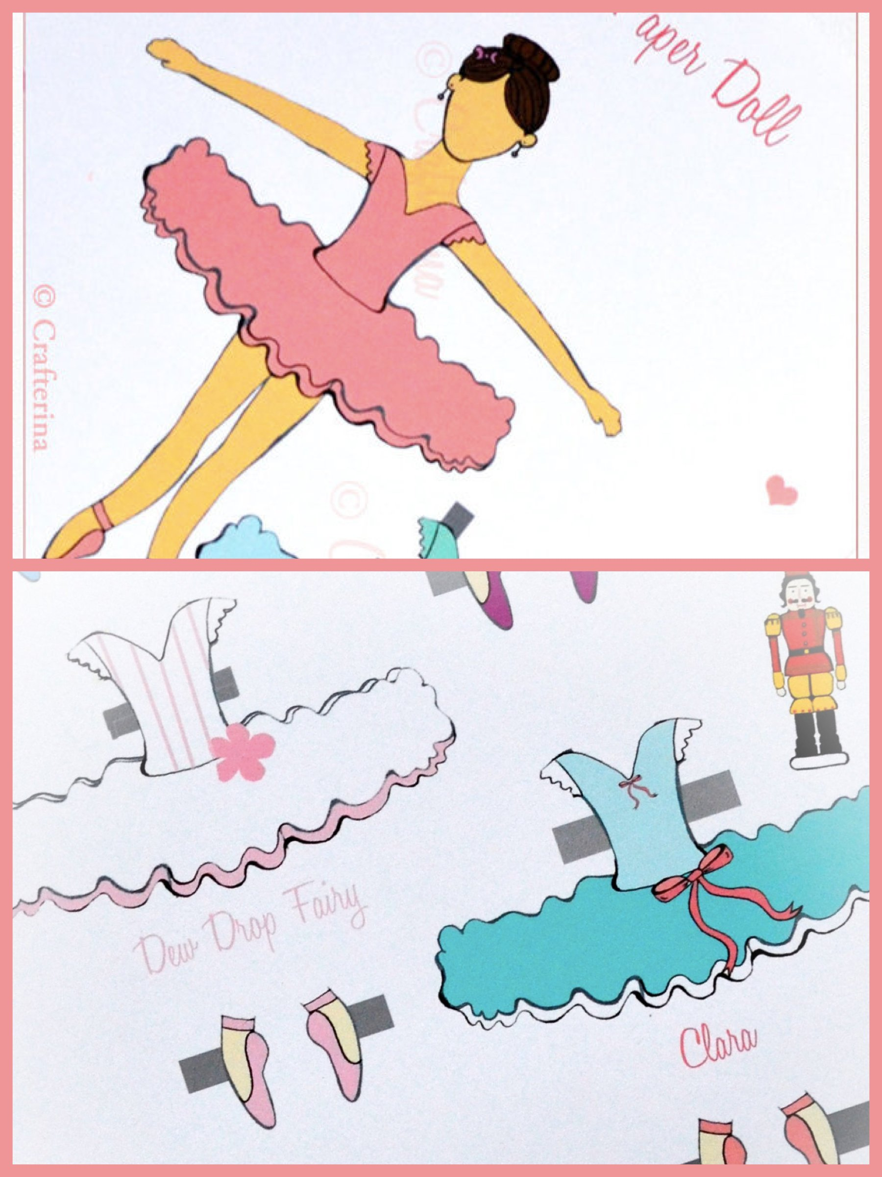 Ballerina Birthday Party Paper Doll Craft