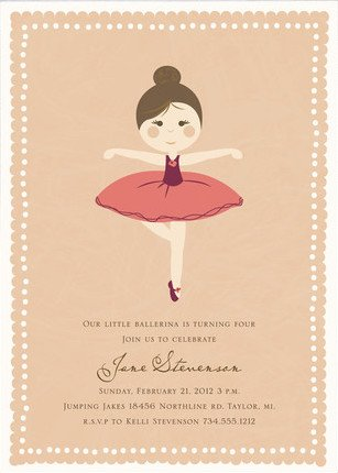 Girls Ballet Birthday Party Invitation