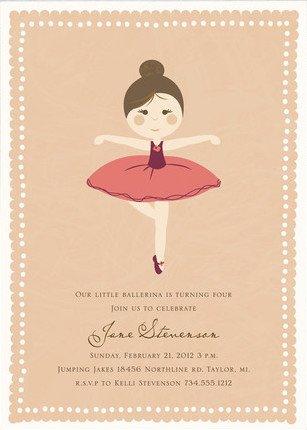 Girls Ballet Birthday Party Invitation
