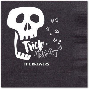 Grim Treats - Personalized Napkins in Black, Personalized Halloween Cocktail Napkins