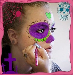 DIY Halloween Glow Face Paint Free eGuide Day of the Dead Sugar Skull Painting