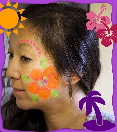DIY Halloween Glow Face Paint Free eGuide Hibiscus Flower