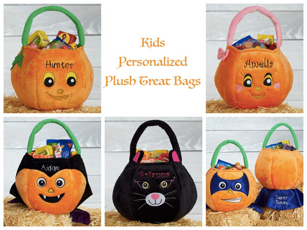 Kids Personalized Plush Treat Bags, Re-Usable Halloween Trick or Treat Bags