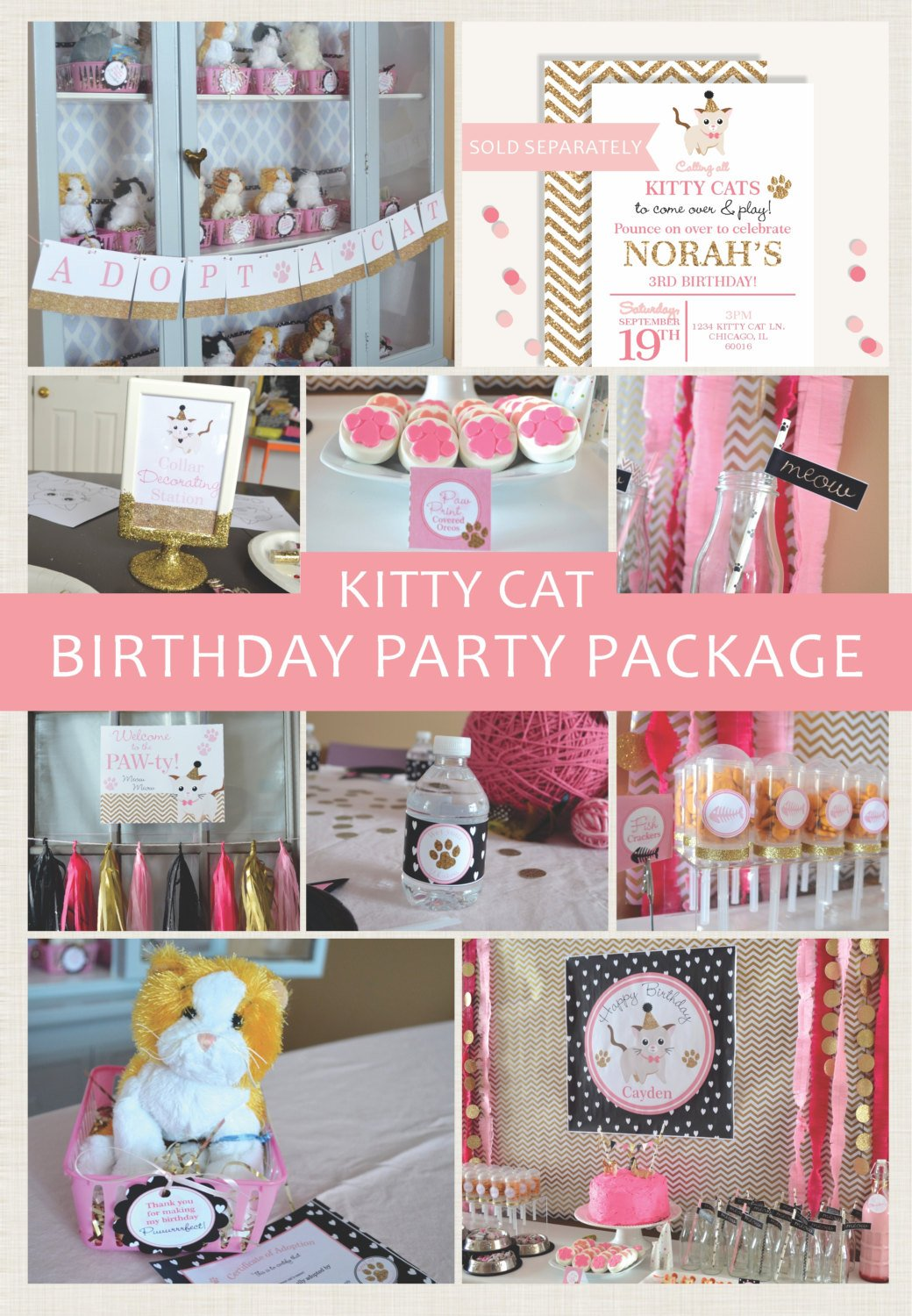 Kitty Cat Personalized Printable Party Package
